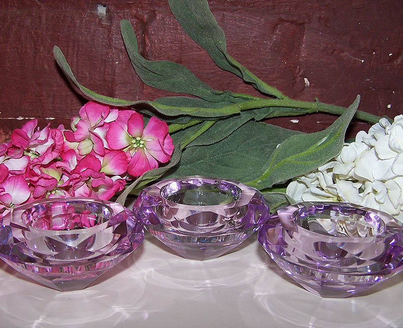 Set x 3 Pink Crystal Tealight Holders -Candle Accessories