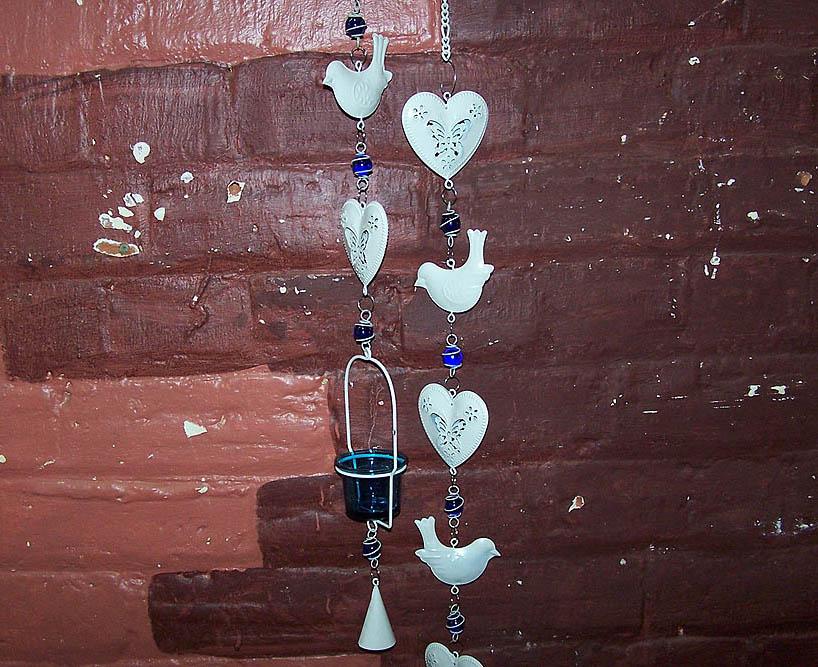 Hanging Tin Bird Tealight Holder -