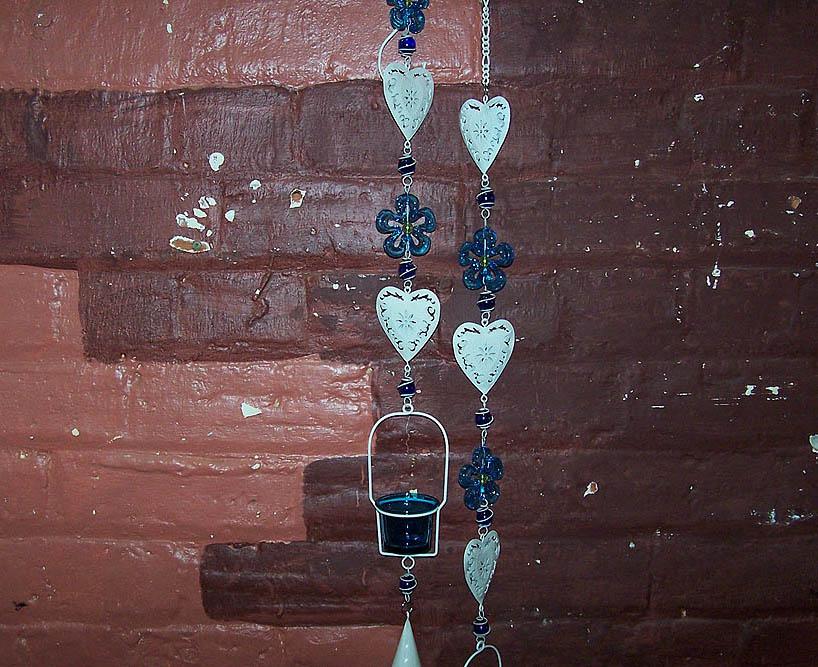 Hanging Tin Heart Tealight Holder -