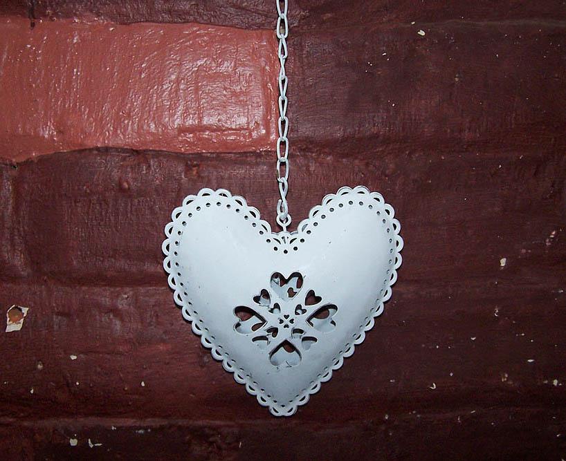 Hanging Tin Heart -