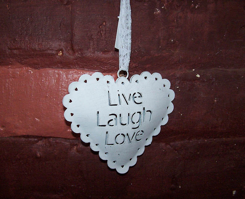 Hanging Tin Heart Live Love Laugh -