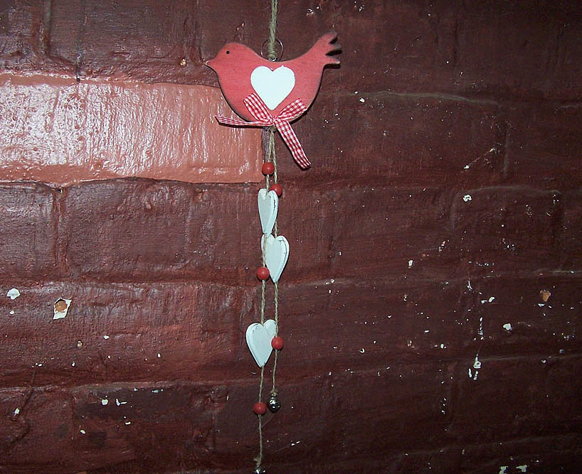 Hanging Red Wooden Bird & Hearts -