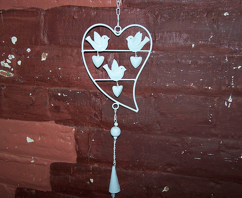 Hanging white Heart with 3 Birds & Bell -
