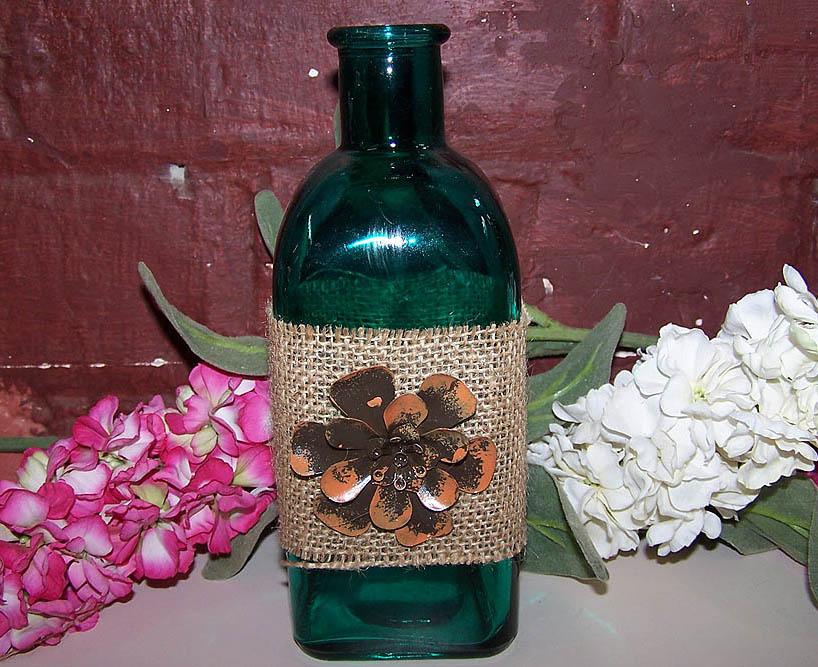 Green Bottle/ Orange Flower -