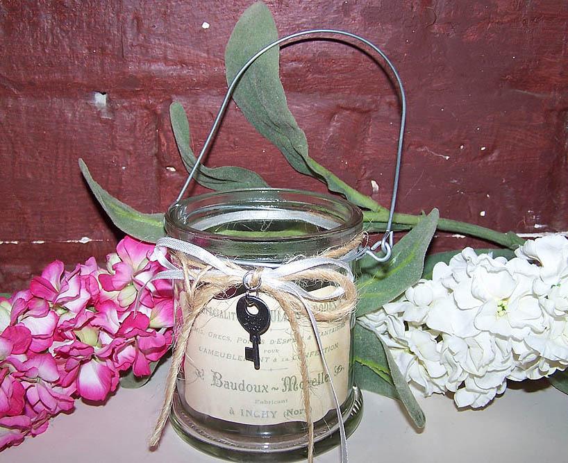 Hanging  Glass Tealight Holder / Key -